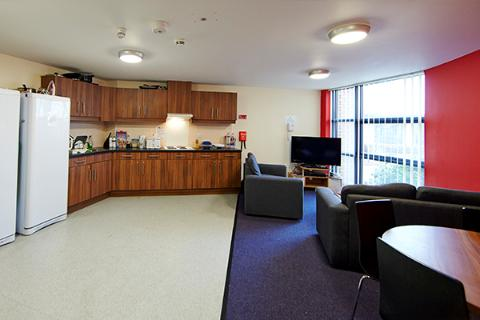 The shared living space in All Saints Court.