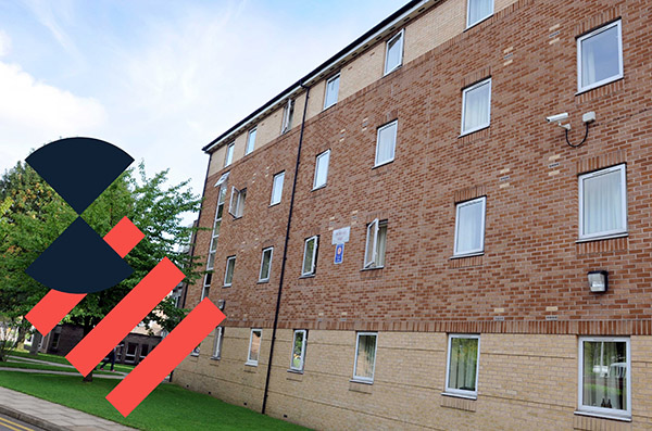 The exterior of Kirkstall Halls accommodation.