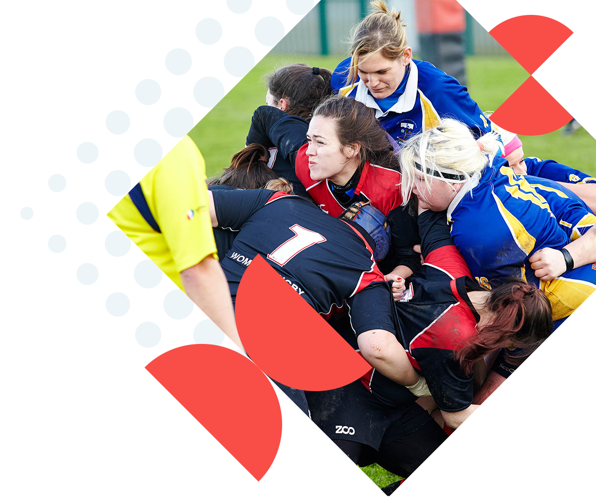 a game of female rugby.