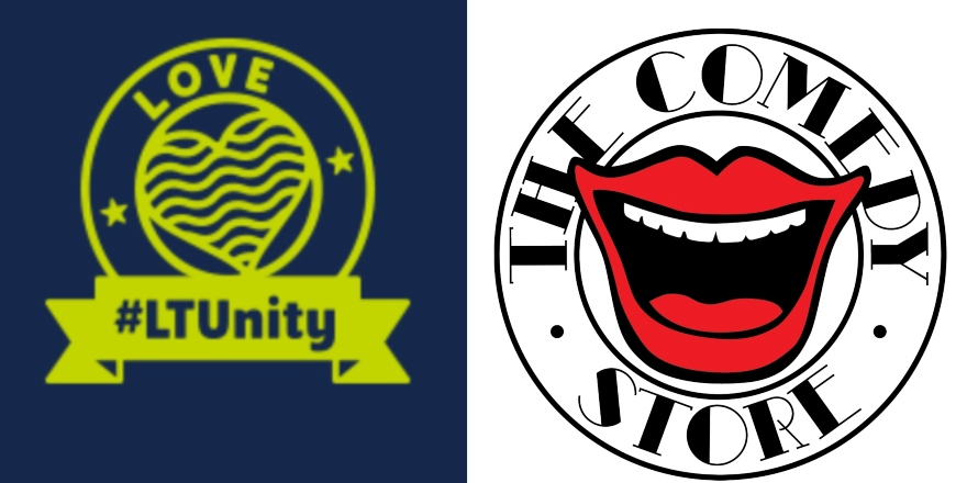 From left to right: LTUnity blue and lime green logo and The Comedy Store Logo with red mouth.