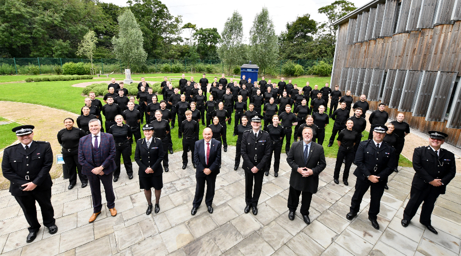 The first cohort of West Yorkshire Police Police Constable Degree Apprentice recruits at Carr Gate.