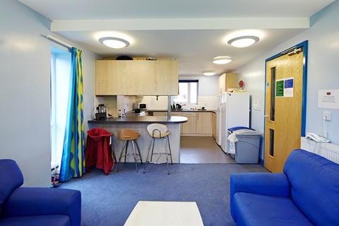 The shared living area at Trinity Close accommodation.